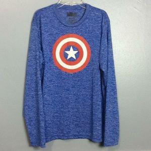Marvel Mens 100% Poly Blue Long Sleeve TShirt Sz L